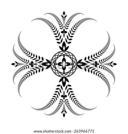 Laurel wreath tattoo. Cross ornament. Black sign on white background. Defense, peace, glory symbol. Vector isolated
