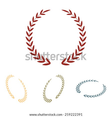 Laurel Wreath. Vector icon  set. Isometric effect - stock vector