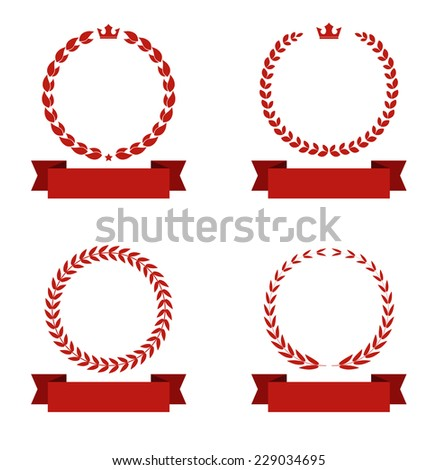 laurel wreath with banner ribbon icon set - stock vector