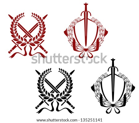 Laurel wreathes set with swords and sabers for heraldry and decorate. Jpeg version also available in gallery - stock vector