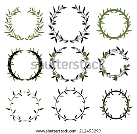 Laurel wreaths,olive wreaths - stock vector