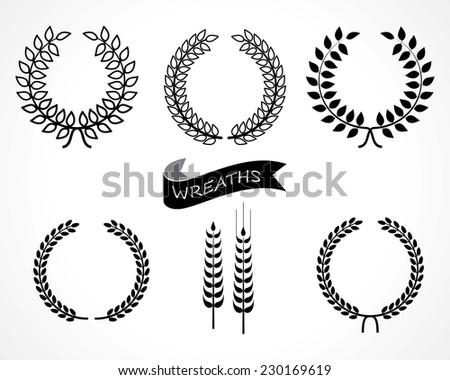 laurel wreaths set - stock vector
