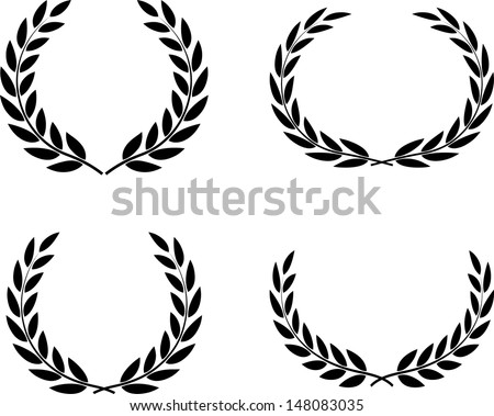 Laurel wreaths set vector isolated  - stock vector