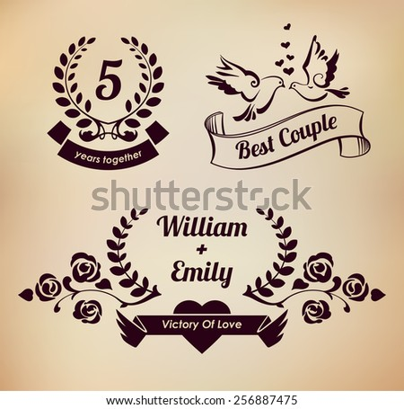 Laurel wreaths vector collection. Wedding elements. EPS 10  - stock vector
