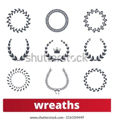 Laurel wreaths: vector set of circular silhouettes. Award, heraldry signs. - stock vector