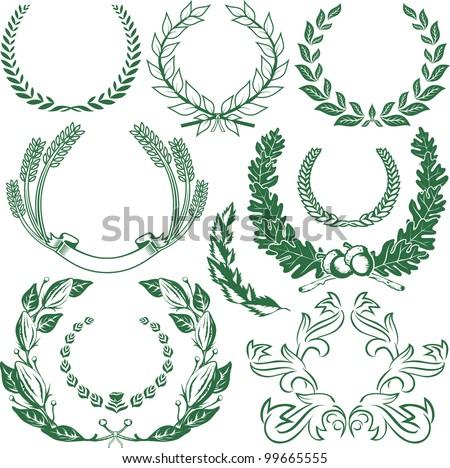 Laurels and Wreaths - stock vector