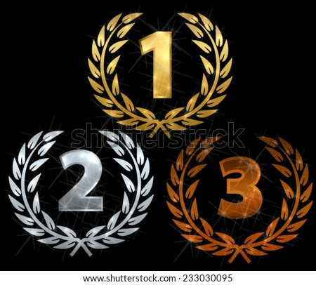Laurels for first three places - stock vector