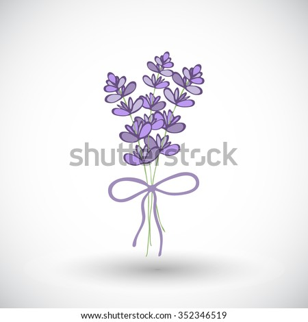 Lavender bouquet sketch. Hand-drawn cartoon flower icon. Doodle drawing. Vector illustration.  - stock vector