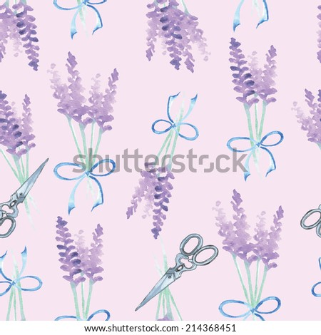 Lavender  seamless watercolor pattern, vector - stock vector