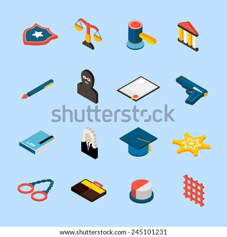 Law and judgment icons isometric set with jury attorney handcuffs isolated vector illustration - stock vector