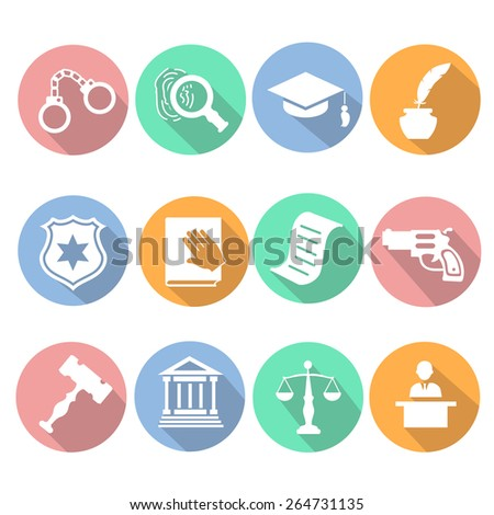 Law and judgment legal justice icon flat set vector illustration - stock vector