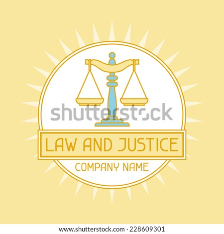 Law and justice company name concept emblem. - stock vector