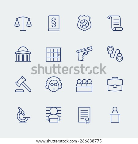 Law and justice related vector icon set - stock vector