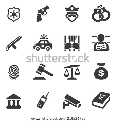 Law and Justice Silhouette icons - stock vector