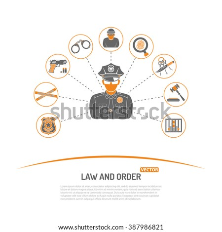Law and Order Concept with Flat Icons for Flyer, Poster, Web Site like Policeman, Thief, Gun, Knife, Handcuffs, Prison, Evidence. - stock vector