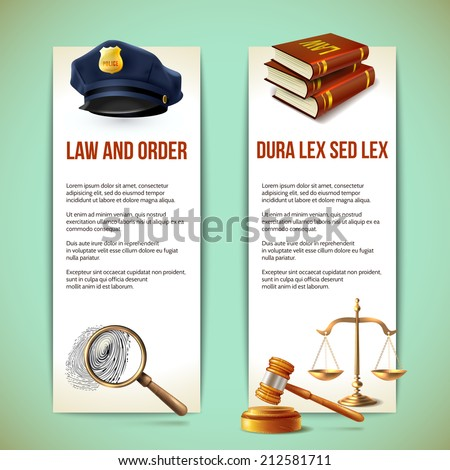 Law and order police criminal and prosecution vertical banners vector illustration - stock vector