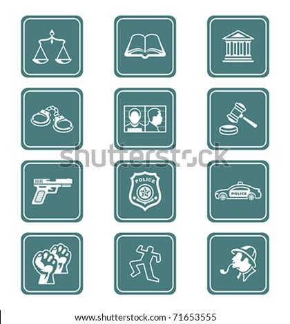 Law and order teal contour icon-set - stock vector