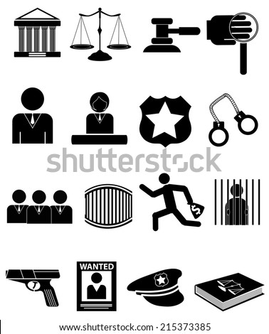 Law and police icons - stock vector