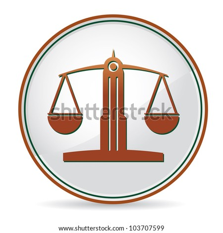 law balance icon in brown color - stock vector