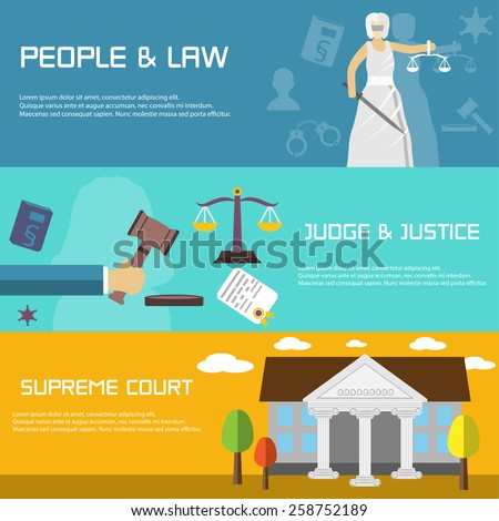 Law banners in flat design style - stock vector