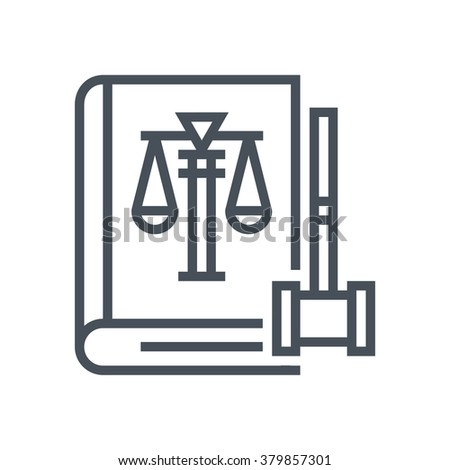 Law book icon suitable for info graphics, websites and print media and  interfaces. Line vector icon. Human face, head, line vector icon. - stock vector