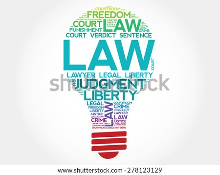 Law bulb word cloud concept - stock vector
