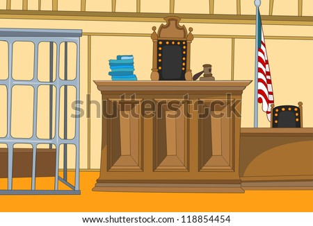 Law Court. Cartoon Background. Vector Illustration EPS 10.