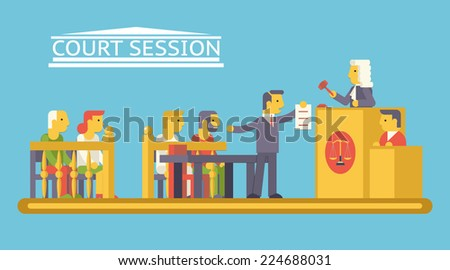 Law Court Justice Scene with Characters Defendant Ludge Lawyer Advocate Trendy Modern Flat Design Template Vector Illustration - stock vector