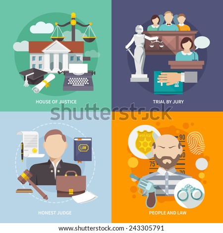 Law design concept with house of justice trial by jury honest judge icon flat set isolated vector illustration - stock vector