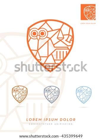 LAW DESIGN ELEMENTS INCORPORATED IN A SHIELD SYMBOL , MODERN PREMIUM DESIGN , VECTOR LOGO / ICON  - stock vector