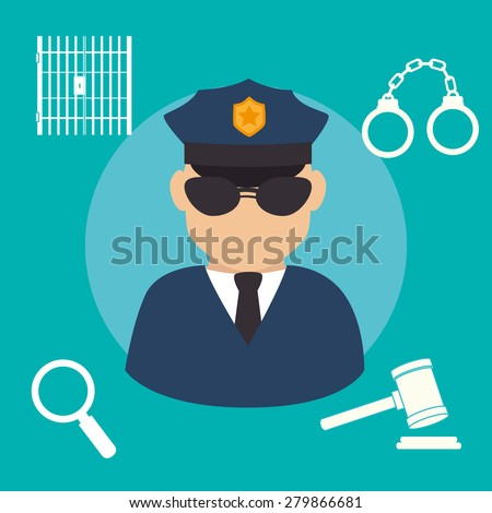 Law design over blue background, vector illustration. - stock vector