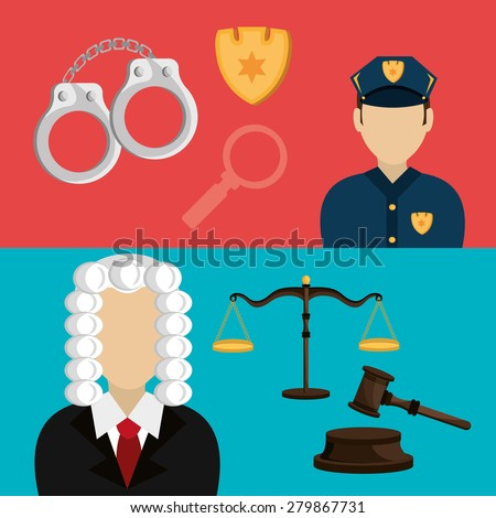 Law design over colorful background, vector illustration. - stock vector