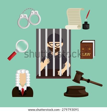 Law design over green background, vector illustration. - stock vector