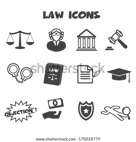 law icons, mono vector symbols - stock vector