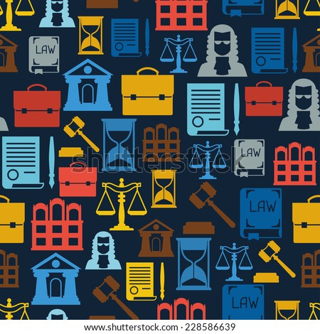 Law icons seamless pattern in flat design style. - stock vector