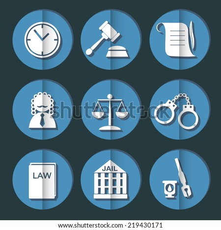 law judge icon set, justice sign - stock vector