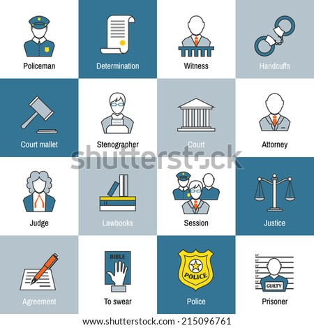 Law justice and legislation flat line icons set of judge scales courthouse and jail isolated vector illustration - stock vector