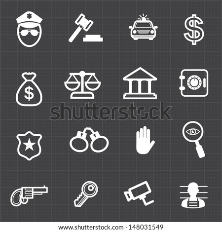 Law justice icons set and black background