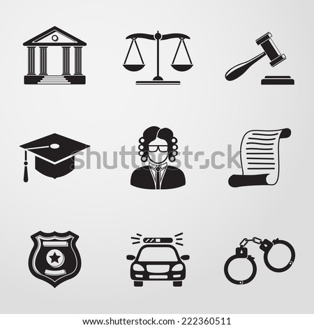 Law (justice) monochrome icons set with - scales, hammer, court house, judge, police badge, handcuffs, lawyer cap, police car, sentence document. - stock vector