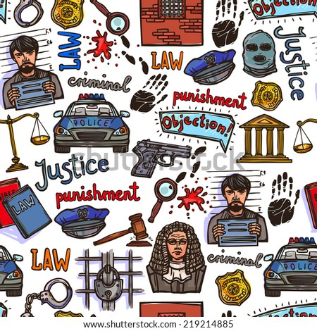 Law justice police and legislation icon color sketch seamless pattern vector illustration - stock vector