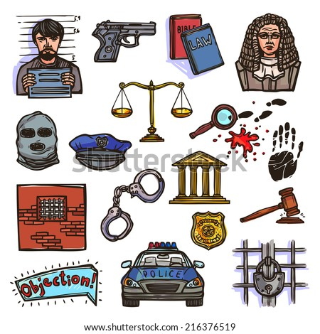 Law justice police and legislation icon color sketch set isolated vector illustration - stock vector