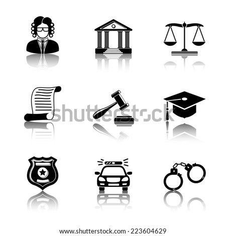 Law (justice) reflected monochrome icons set with - scales, hammer, court house, judge, police badge, handcuffs, lawyer cap, police car, sentence document. - stock vector