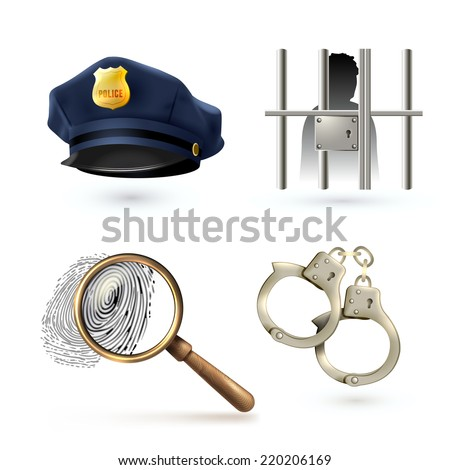 Law legal justice police icons set with officer hat handcuffs fingerprints isolated vector illustration - stock vector