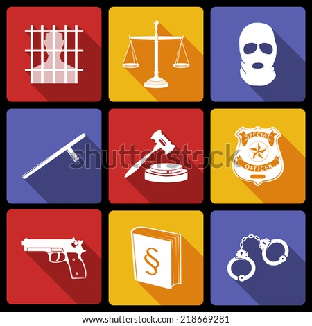 Law legal justice white on flat icons set with badge gavel gun isolated vector illustration - stock vector