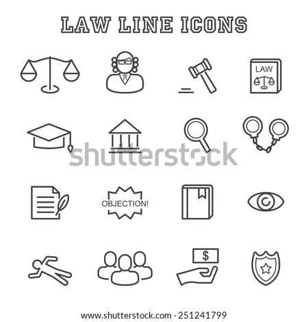 law line icons, mono vector symbols - stock vector