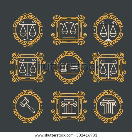 Law office logo set. Vector vintage lawyer logo collection. Jurist icon template. Attorney sign. Legal concept. Juridical firm labels and badge