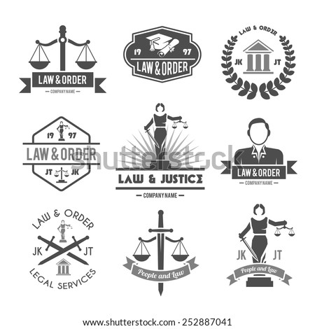 Law order and crime preventing lady justice symbols collection black graphic labels pictograms set isolated vector illustration - stock vector