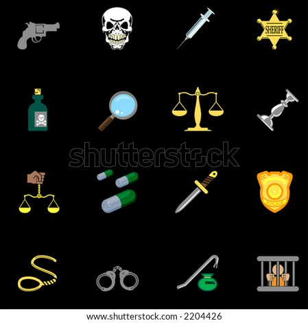 law, order, police and crime icon series set.  a series of design elements or icons relating to law, order, police and crime. - stock vector