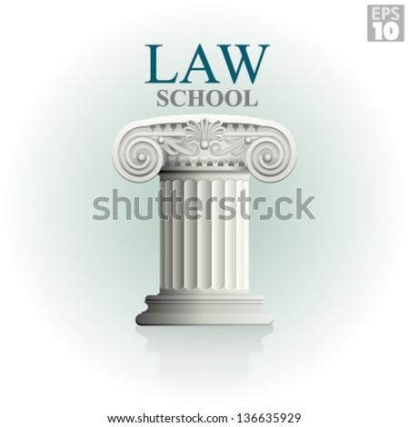 Law school with classic roman column - stock vector