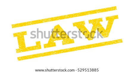 Law watermark stamp. Text caption between parallel lines with grunge design style. Rubber seal stamp with dust texture. Vector yellow color ink imprint on a white background.